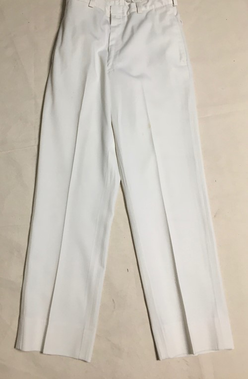 Navy Officer Dress White Pants Cone Fabric Wash & Wear 65% Dacron Poly, 35% Rayon LARGE
