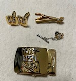 US Navy Petty Officer Master Chief Belt Buckle, Cuff Links, Tie Bar and Tie Pin THUMBNAIL