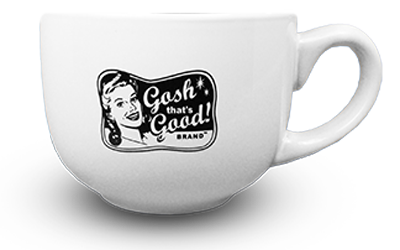 <em>Gosh That's Good! Brand™</em> Retro White Mug