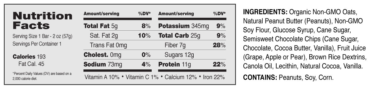 Grab The Gold® Nutrition Facts