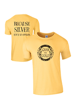 Grab The Gold® Distressed Logo T-Shirt, Gold/Black, Large Only