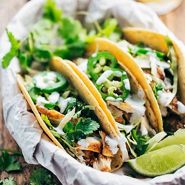 * 20-minute Ancho Chicken Tacos