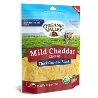 Organic Valley Shredded Mild Cheddar, 6oz. LARGE
