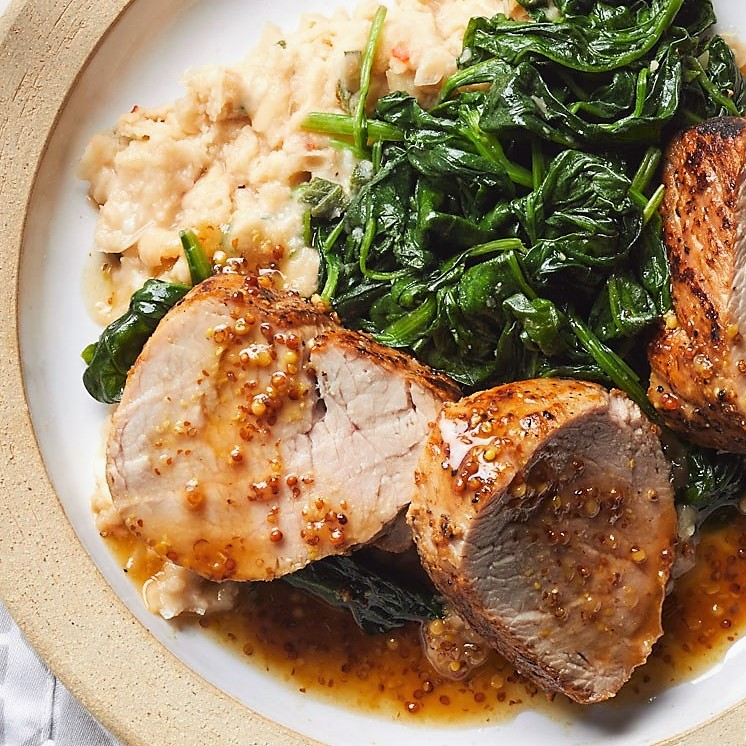 *Honey-Mustard Pork with Spinach and White Beans