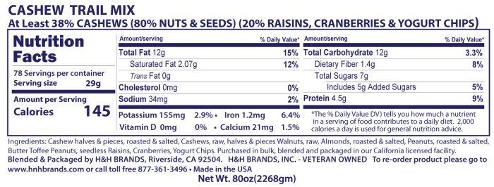 cashew trail mix nutritionals
