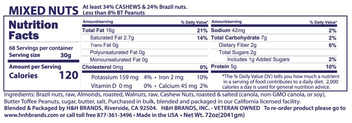 mixed nuts nutritionals