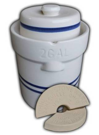 Ohio Stoneware 2 Gallon Fermentation & Preservation Crock - 3 Piece Kit 01206_MAIN