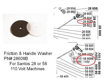 Santos 28 / 58  HANDLE WASHER PN# 28608B MAIN