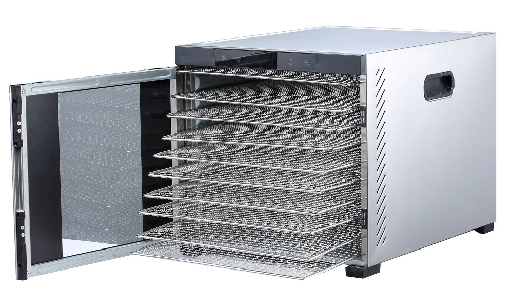 "Samson ""Silent"" 10 All Stainless Steel Dehydrator with Digital Controls  10 Stainless Steel Trays & Glass Door  Quiet an"