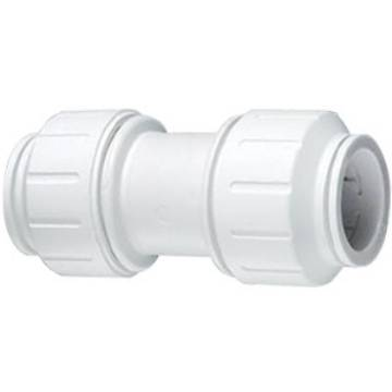 "1/4""x 1/4"" Union Elbow Quick Connect Plug-In   White Polypropylene   Part# Q0420426 MAIN"