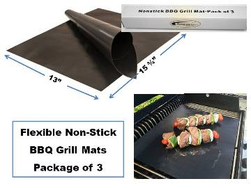 "3-Pack of Premium BBQ Grill Mats  15.75"" x 13"" MAIN"