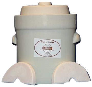 Schmitt Gartoph 3 Liter Cream Colored  Fermentation Crock - 3 Piece Kit Part# ME3203W Cream Colored