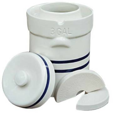 Ohio Stoneware 3 Gallon Fermentation Crock   3 Piece Kit - Crock, Stones, Lid 11709 MAIN