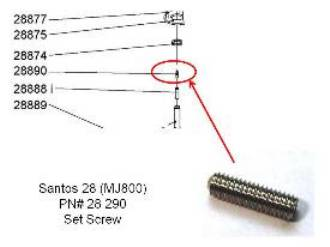 Santos 28 Replacement SET SCREW for  Miracle MJ800 or Santos 28  PN# 28890_MAIN