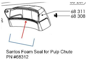 Santos 68 SEAL for Discharge Chute - PN# 68312 MAIN