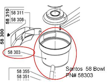 Replacement Santos 58 Juice Bowl PN#58303  Also for Miracle MJ858 PN# 58-303 MAIN