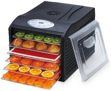 "Samson ""Silent"" 6 Tray Dehydrator with Digital Controls  Quiet and Convenient  Model SB106B LARGE"