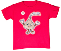 Hersheypark Character Hershey's KISSES  Glow in the Dark Youth T-shirt LARGE