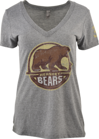 Hershey Bears Ladies V-Neck Heathered Distressed Primary Logo T-shirt LARGE