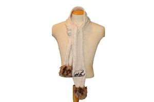 Hershey Bears Meeko Fur Pom Womens Knit Scarf LARGE