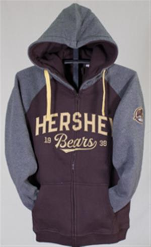 Hershey Bears Full Zip Raglan Hooded Sweatshirt LARGE