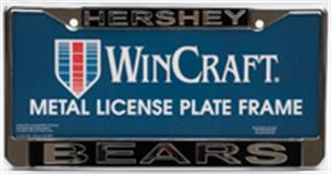 Hershey Bears License Plate Frame Black/Silver LARGE
