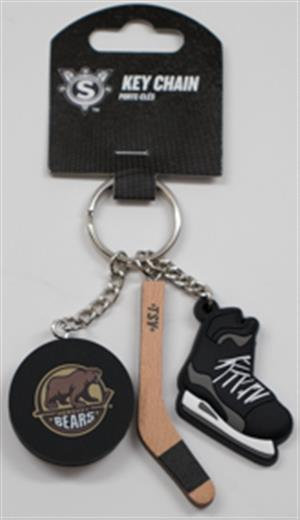 Hershey Bears Puck, Stick, and Skate Keychain LARGE