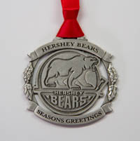 Hershey Bears Sparta Pewter Season's Greetings Ornament LARGE