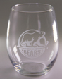 Hershey Bears Etched Primary Logo Stemless Wine Glass THUMBNAIL