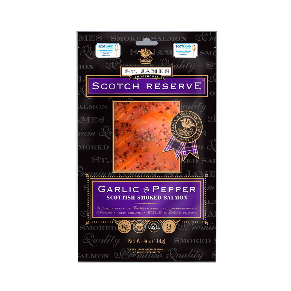 SCOTTISH RESERVE SMOKED SALMON WITH GARLIC & PEPPER 8 OZ LARGE