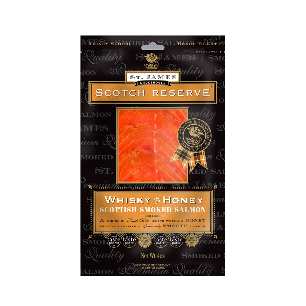 SCOTTISH RESERVE SMOKED SALMON INFUSED WITH WHISKEY & HONEY 8 OZ LARGE