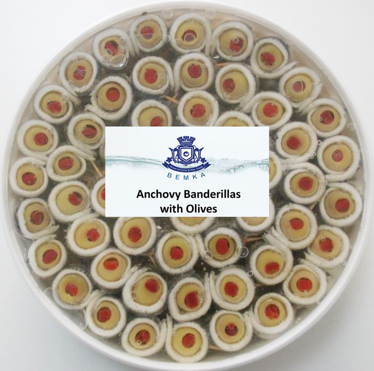 MARINATED ANCHOVIES WITH GREEN OLIVES 2.2 LB TUB LARGE