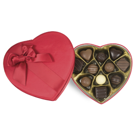 11 Piece Red Satin Sweetheart Chocolate Gift Box