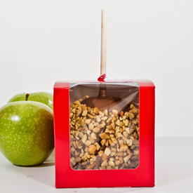 Chocolate Dipped Caramel Apple with Roasted Cashews
