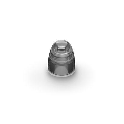 Picture of Phonak Marvel hearing aid cap domes, smokey grey in color. LARGE