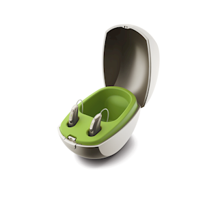 Picture of the all in one charging case for Phonak rechargeable hearing aids. THUMBNAIL