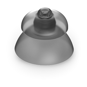 Picture of Phonak Marvel power hearing aid domes, smokey grey in color. LARGE