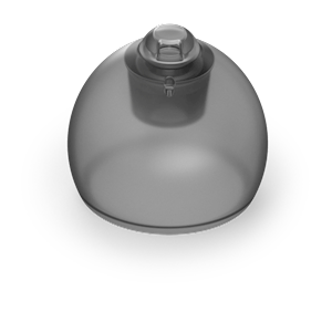 Phonak Marvel vented hearing aid domes, smokey grey in color. THUMBNAIL
