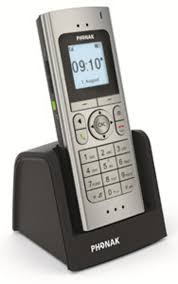 A picture of the Phonak DECT II Phone with led screen and charging base._MAIN