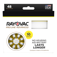 Picture of Rayovac Proline Size 10 Hearing Aid Batteries - 48 cell pack. THUMBNAIL