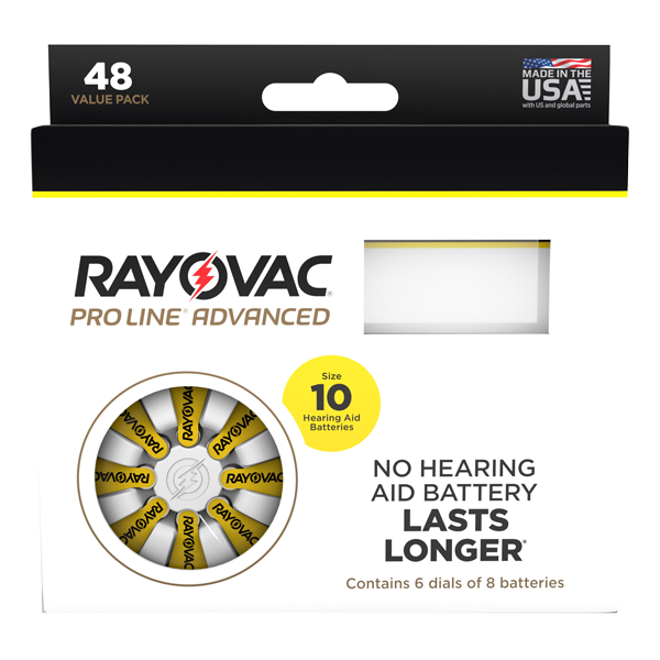Picture of Rayovac Proline Size 10 Hearing Aid Batteries - 48 cell pack. LARGE