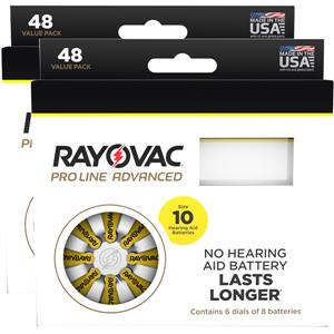 Rayovac Proline Size 10 Hearing Aid Batteries - 96 cell pack. LARGE
