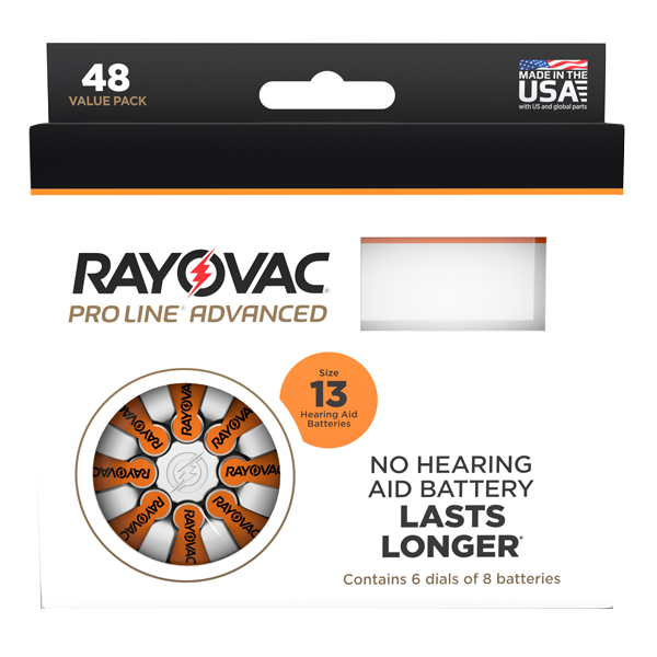 Picture of Rayovac Proline Size 13 Hearing Aid Batteries - 48 cell pack. LARGE