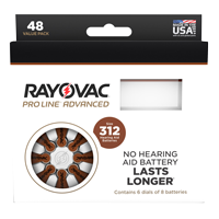 Rayovac Proline Size 312 Hearing Aid Batteries - 48 cell pack. THUMBNAIL