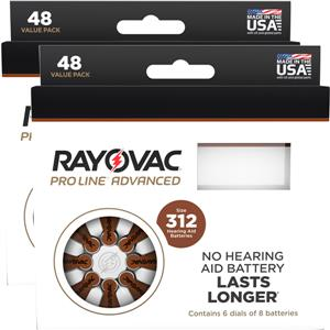 Picture of Rayovac Proline Size 312 Hearing Aid Batteries - 96 cell pack. LARGE