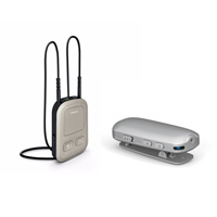Picture of Phonak's ComPilot II beside the RemoteMic in a bundle for use with Phonak hearing aids. MAIN