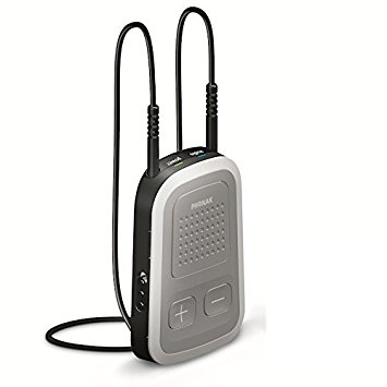 A picture of the original Phonak ComPilot with the neckloop attached, denoting use with Phonak hearing aids