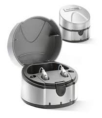 This picture shows the eCharger open with hearing aids in it and also with the lid closed.