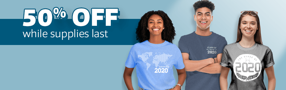 50% off class shirts & personalized announcements!