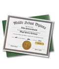 Middle School Diploma & Case — Personalized Certificate